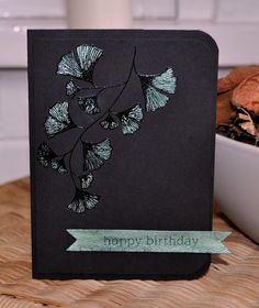 stunning black on black handmade card by Inky Fingers: Papertrey Ink birthday card ... luv the dramatic look of black cards ... black embossing with some pearlescent paint to highlight textures ... Paper Trey Ink ...