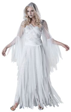 Ghost Haunting Beauty Costume - This ghosts beauty is forever immortal! Haunting Beauty Women Halloween Costume includes a full length sheer shredded white gown with attached hood and sash. Ghost Costumes, Sexy Halloween Costumes, Halloween Fancy Dress, Halloween Cosplay, Adult Costumes, Costumes For Women, 1950s Costumes, Nerd Costumes, Costume Zombie