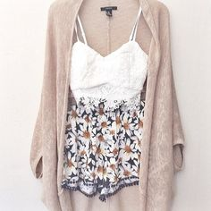 knitted cocoon cardigan with floral culotte shorts and a bandeau~ #outfits