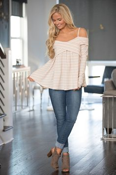 Let's Go Sailing Off The Shoulder Blouse Beige - The Pink Lily