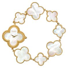 Van Cleef & Arpels vintage Alhambra bracelet watch...because if it has 4-lobed clovers, good chance it is VC+A!