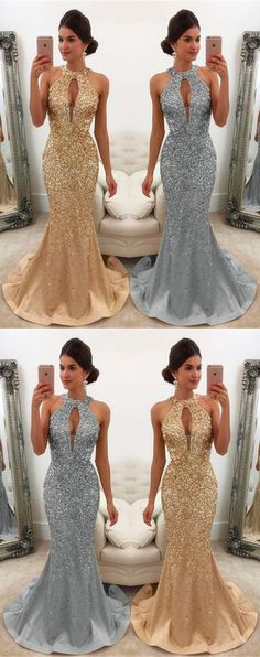 Unique Prom Dresses, Luxurious Crystal Beaded Satin Halter Mermaid Prom Evening Gown Dresses, There are long prom gowns and knee-length 2020 prom dresses in this collection that create an elegant and glamorous look Dresses For Teens Wedding, Fitted Prom Dresses, Prom Dresses Long With Sleeves, Long Prom Gowns, Dresses Uk, Fashion Dresses, Bridesmaid Dresses, Party Dresses, Wedding Gowns