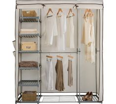 Buy HOME Metal and Polycotton Triple Wardrobe - Cream at Argos.co.uk - Your Online Shop for Wardrobes, Bedroom furniture, Home and garden.