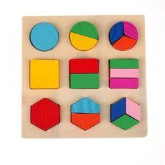 Wooden Geometric Educational Block Puzzles - 1