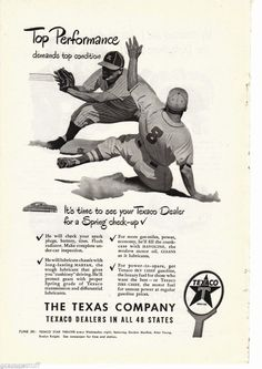 1948 Texaco Gasoline Dealer Ad, Baseball Players,The Texas Company #Texaco
