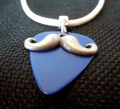 Mustache and Blue Guitar Pick on Rolled White Leather Cord Necklace by ItsYourPick on Etsy