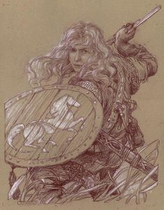 """Eowyn:+No+Man""+Original+colored+pencil+on+toned+paper+by+Donato+Giancola"