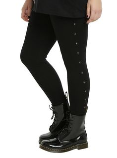 Blackheart Grommet Leggings Plus Size, BLACK