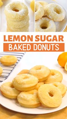 Lemon Sugar Baked Donuts are light, citrusy, and coated in a crunchy, lemon-zest infused sugar.the perfect sunny treat for breakfast or dessert! Lemon Desserts, Lemon Recipes, Sweet Recipes, Baking Recipes, Dessert Recipes, Yummy Recipes, Mini Donut Recipes, Easy Donut Recipe For Kids, Ring Doughnut Recipe