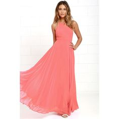 Mythical Kind of Love Coral Pink Maxi Dress ($64) ❤ liked on Polyvore featuring dresses, gowns, pink, maxi dresses, coral maxi skirt, long maxi skirts, red maxi skirt and pink maxi skirt
