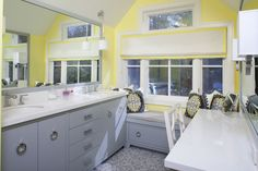Gray and Yellow Bathroom. Hmm, remember this color scheme when thinking of painting the bathroom cabinets.