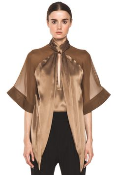 GIVENCHY | Satin Tie Neck Blouse in Multi