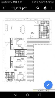 Bungalow House Plans, Small House Plans, House Floor Plans, House Layout Plans, House Layouts, L Shaped House Plans, Three Bedroom House Plan, Long House, Apartment Floor Plans