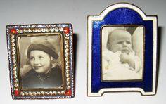Vtg PR Mini Picture Frames Gilt Bronze Enamel Cechoslovakia & Micro Mosaic Italy #ArtDeco