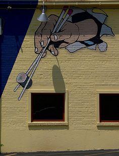 Seven Seas Restaurant Sushi Mural (College Park, MD) by takomabibelot, via… Burger Restaurant, Restaurant Branding, Restaurant Design, Street Wall Art, Fantasy Art Landscapes, Wall Drawing, Mural Wall Art, Painting Furniture, Dumpling