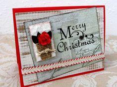 Merry Christmas Card  Bright Red  Christmas by PrettyByrdDesigns