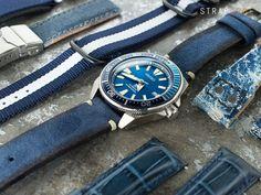 When blue meet Seiko Prospex Samurai SRPB09 Blue Lagoon. The gorgeous blue sunburst dials with those blue watch straps. Take a look!22mm MiLTAT Honeycomb Navy Blue Nylon Velcro Fastener Watch Strap…