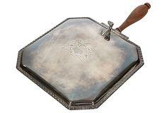Vintage Silver-Plate Square Silent Butler