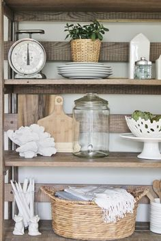 Spring Home Tour (& a Giveaway!) | Kitchen shelves, Modern farmhouse ...