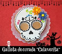 Sugar skull decorated cookie