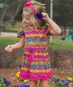 Loving this Pink Stripe Watercolor Ikat Dress - Infant, Toddler & Girls on #zulily! #zulilyfinds