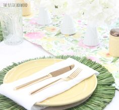 Decorating Our Dining Table for Spring — Styled 3 Ways!   The Rustic Boxwood blog   spring, tablescape, dining table, decor, interior design, placemats, watercolor, gold flatware, shabby chic, pastels