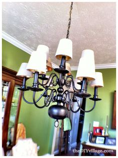 up cycle your brass chandelier - see recommendations on spray paint to use! Been on my list of things to do.