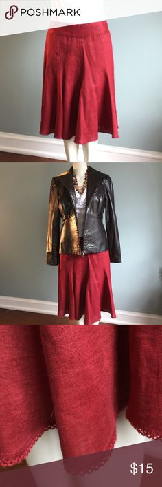 "Ann Taylor Maroon Linen Skirt Gently worn, this lightweight, lined linen skirt has side zipper, lace hem and wide waistband details. Very flattering. Shell 109% linen, lining 55% acetate/45% rayon. Dry clean. Waistband 32"", length of skirt 25"". Ann Taylor Skirts A-Line or Full"