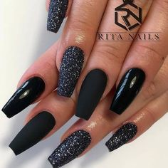 Fantastic Designs For Coffin Nails You Must TryYou can find Black nails and more on our website.Fantastic Designs For Coffin Nails You Must Try Black Nails With Glitter, Black Acrylic Nails, Black Coffin Nails, Matte Black Nails, Best Acrylic Nails, Matte Gel Nails, Coffin Nails Glitter, Black Nail Art, Nail Polish