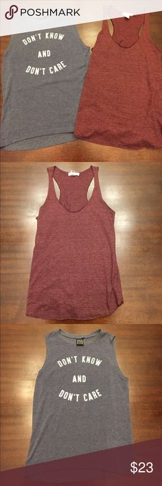 Tank top bundle. Both in perfect condition. Both size medium. The maroon one is a racer back tank and the navy blue one is a muscle tee. Feel free to ask questions! Please be aware that these are not H&M, I just put that for views!! H&M Tops Tank Tops