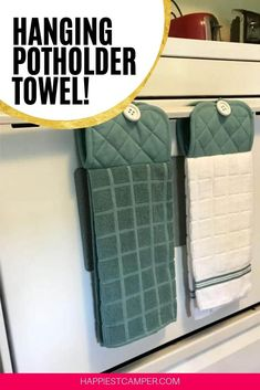 Easy Hanging Potholder Towel! no more searching for the Kitchen towel or the potholder with this Easy Sewing Project. Just sew a few simple lines and add a button and you are good to go. I love to give these Hanging Potholder Towels as gifts for house warming parties and now you ca to. Customize this hanging kitchen towel with their favroite colors or patterns, we show you how with the Simple Hanging Potholder Towel Tutorial. #sewingprojects #easysew