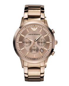 Have mercy!    Rose Golden Large Chronograph by Emporio Armani at Last Call by Neiman Marcus.