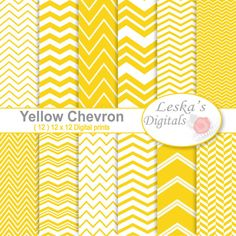 YELLOW CHEVRON DIGITAL PAPER .......................................................................................... Back to shop: https://www.etsy.com/shop/DigitalWork .......................................................................................... (12) yellow digital paper 12 x 12 sheets for invites, scrapbooking, craft projects, stationary, website and blog wallpaper, card making, hang tags, cupcake toppers, wrapping paper, birthday parties and announceme...