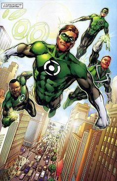 Os Lanternas Verdes terráqueos na arte de Ivan Reis.