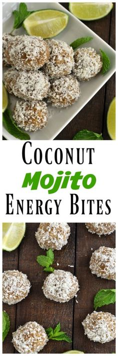 These no bake Coconut Mojito Energy Bites are perfect for summer. No refined sugar and only 6 simple ingredients. Vegan, gluten free and paleo!