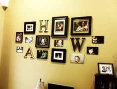Photo arrangement in our living room with some of our favorite photos.  The letters were a bargain find at Hobby Lobby for $5 each but were a tacky gold color.  Nothing a little paint couldn't fix.  Many of the photos are mounted on black foam board and are hung on the walls without frames to mix up the look a little.