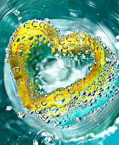 Yellow heart in turquoise blue water #inspiring #palette - More wonders at www.francescocatalano.it