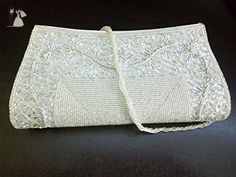 White Beaded womens envelope clutch, womens beaded strap bag, White formal clutch, unique retro chic bag - Bridal handbags (*Amazon Partner-Link)