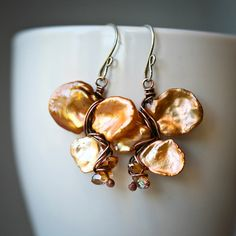 Champaign Copper Keishi Pearl WIre Wrapped Earrings by Mayahelena