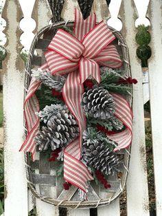 Winter Tobacco Basket Arrangement with Pine Cones Rustic Christmas Wreath Front Porch Decor Front Door Wreath Mantel Decor Wall Hanging Home Decor Baskets, Basket Decoration, Homemade Christmas Gifts, Christmas Crafts, Christmas Ideas, Office Christmas, Wreaths For Front Door, Door Wreaths, Tobacco Basket Decor