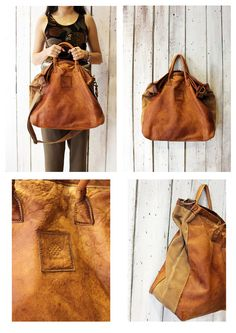 "Handmade Italian  Brown Leather& canvas Bag ""ZIPPER 8"" di LaSellerieLimited su Etsy"