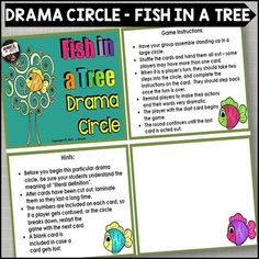 """Fish in A Tree - Drama CircleAdd some more fun into your Fish in a Tree novel study or read aloud with this Fish in a Tree drama circle.This drama and language activity that goes along with your study of the novel, Fish in a Tree, by Lynda Hunt, has a similar format to the """"I Have / Who Has"""" game."""