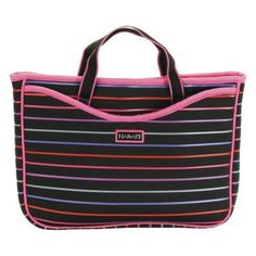 Hadaki by Kalencom Neoprene 11.1 Netbook Sleeve/Tote - Pencil Stripes Berry - HDK811-PENCIL-STRIPES-BERRY