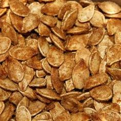 Gonna try these sweet pumpkin seeds today (if I can dry my seeds in time). We ended up with four cups of raw seeds!