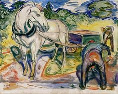 Edvard Munch - Digging Man with Horse and Cart, 1920