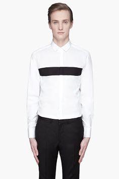 Neil Barrett, White Paneled Tuxedo Shirt for men