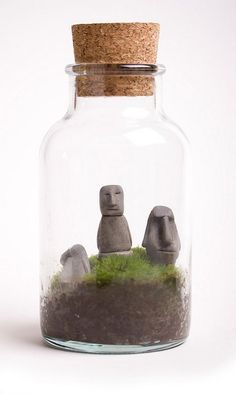 Four Easter Island Heads miniature terrarium sculptures - Awesome Little Miniature Handmade Tiki Island Moai Primitive Anicent Sculptures Mini Terrarium, Bottle Terrarium, Air Plants, Indoor Plants, Cactus Plants, Paludarium, Vivarium, Easter Island, Garden Art