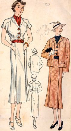 Customode 8315  |ca. 1933 Misses' Jacket and Dress Ensemble
