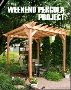This beautiful DIY pergola becomes an outdoor room that gives just enough shade on a hot summer day. It& a perfect place to entertain even with a small backyard. Building A Pergola, Small Pergola, Small Backyard Design, Outdoor Pergola, Small Backyard Landscaping, Backyard Pergola, Pergola Shade, Outdoor Rooms, Patio Stone