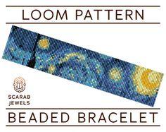 Starry Night Loom Beading Bracelet Cuff Bead от ScarabJewels